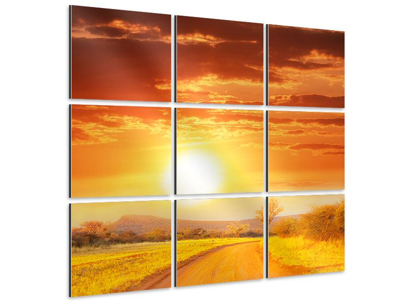 Aluminiumbild 9-teilig Sonnenuntergang in der Savanne
