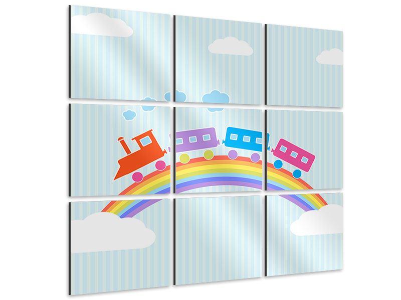 Aluminiumbild 9-teilig Der Regenbogenzug