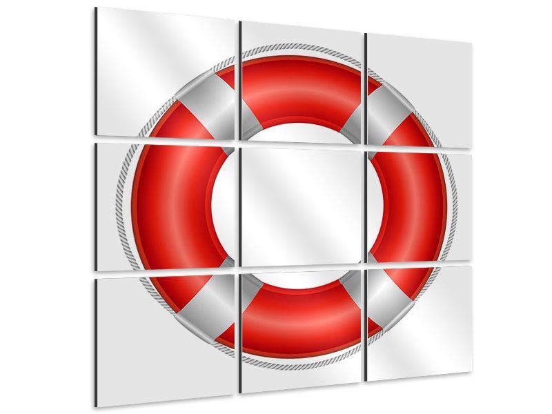 Aluminiumbild 9-teilig Rettungsring