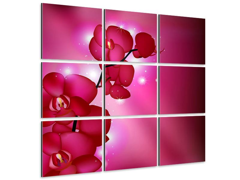 Aluminiumbild 9-teilig Orchideenmärchen