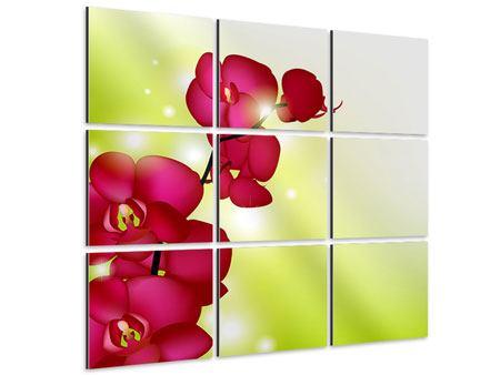 Aluminiumbild 9-teilig Heiligtum der Orchidee