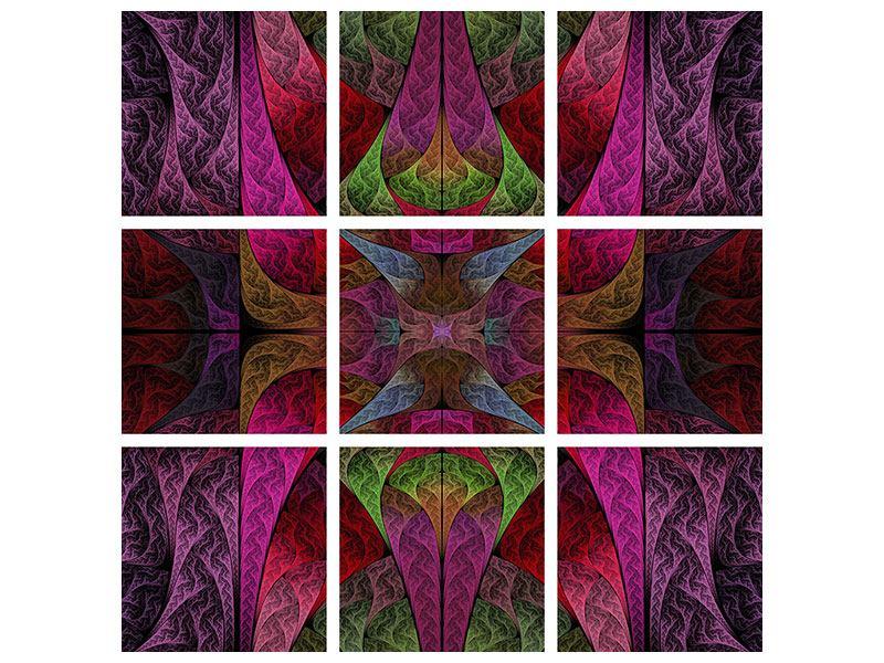 Aluminiumbild 9-teilig Fraktales Muster