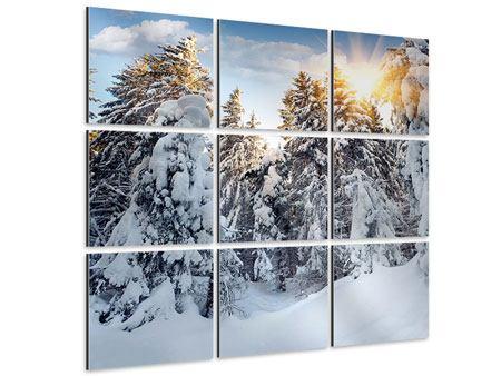 Aluminiumbild 9-teilig Tannen im Schnee