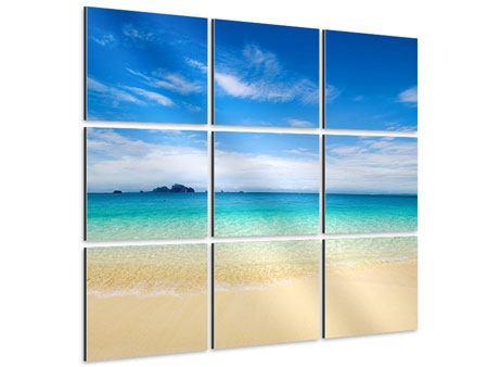 Aluminiumbild 9-teilig Blaue Lagune