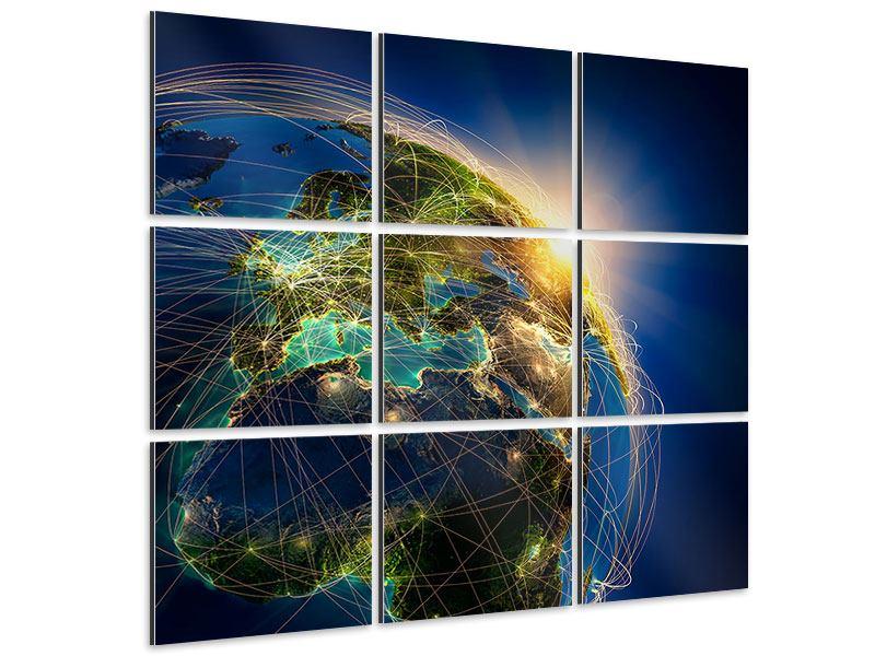 Aluminiumbild 9-teilig Der Planet Erde