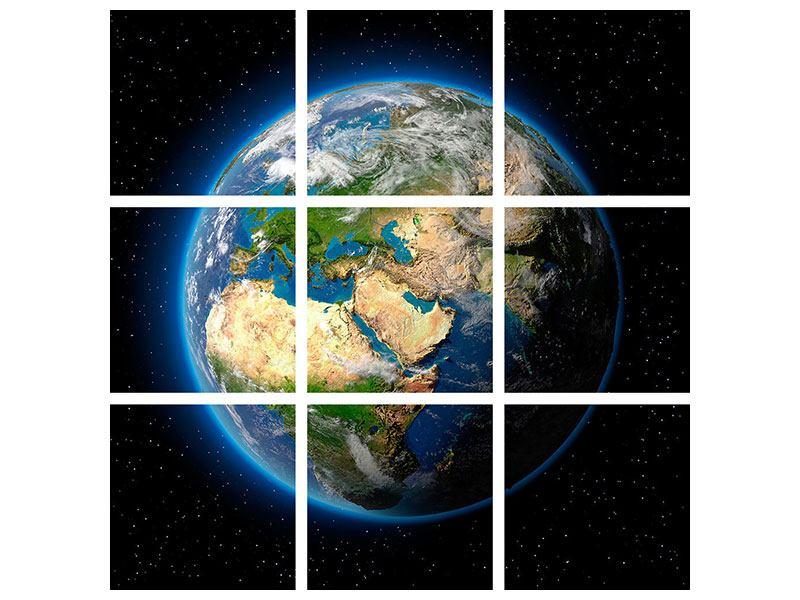 Aluminiumbild 9-teilig Die Erde als Planet