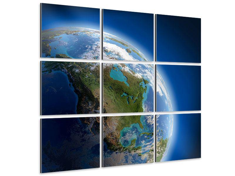 Aluminiumbild 9-teilig Die Erde
