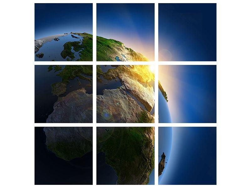 Aluminiumbild 9-teilig Sonne und Erde
