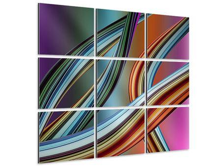 Aluminiumbild 9-teilig Wellengleich