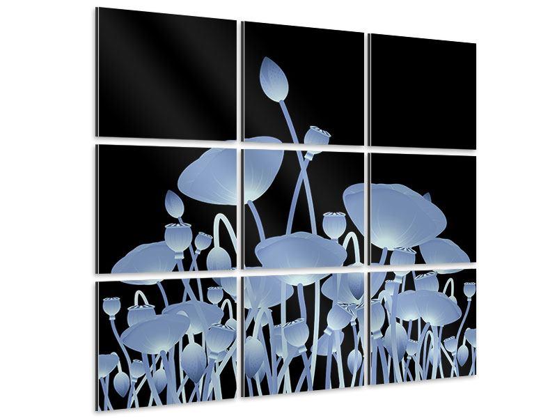 Aluminiumbild 9-teilig Futurische Blumen