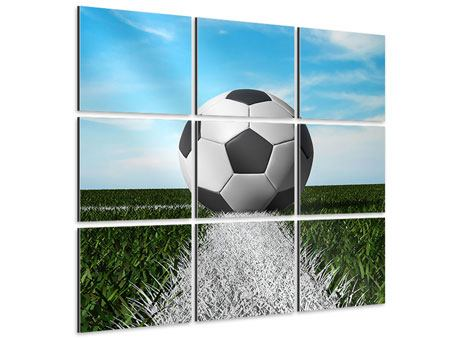 Aluminiumbild 9-teilig Der Fussball