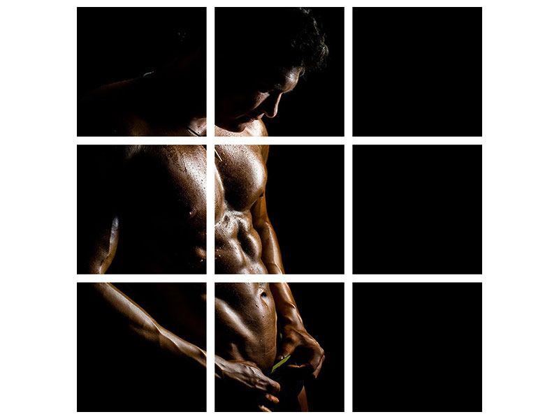 Aluminiumbild 9-teilig Heisses Männermodel