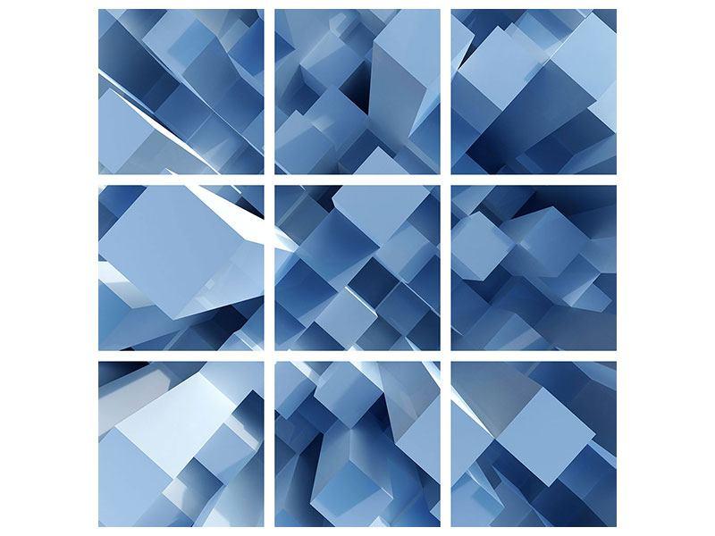 Aluminiumbild 9-teilig 3D-Säulen