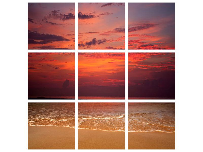 Aluminiumbild 9-teilig Zeile auf den Sand