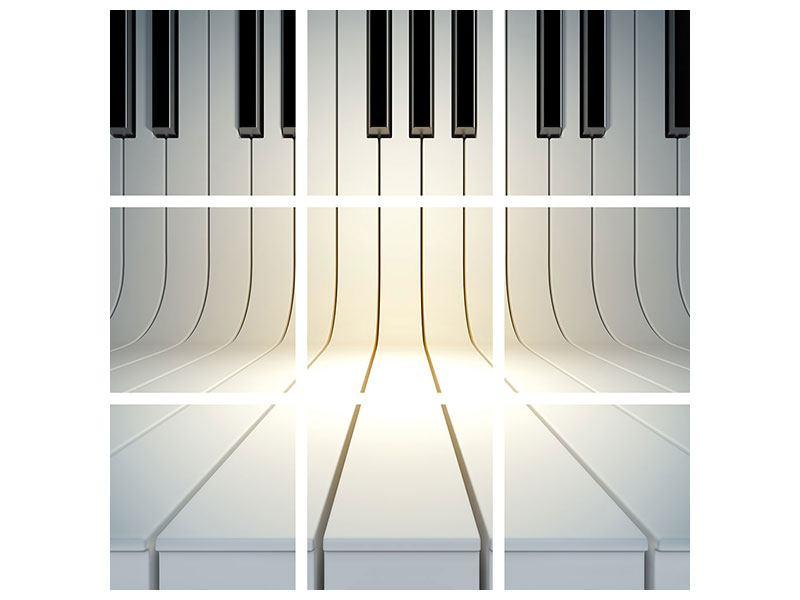 Aluminiumbild 9-teilig Klaviertasten