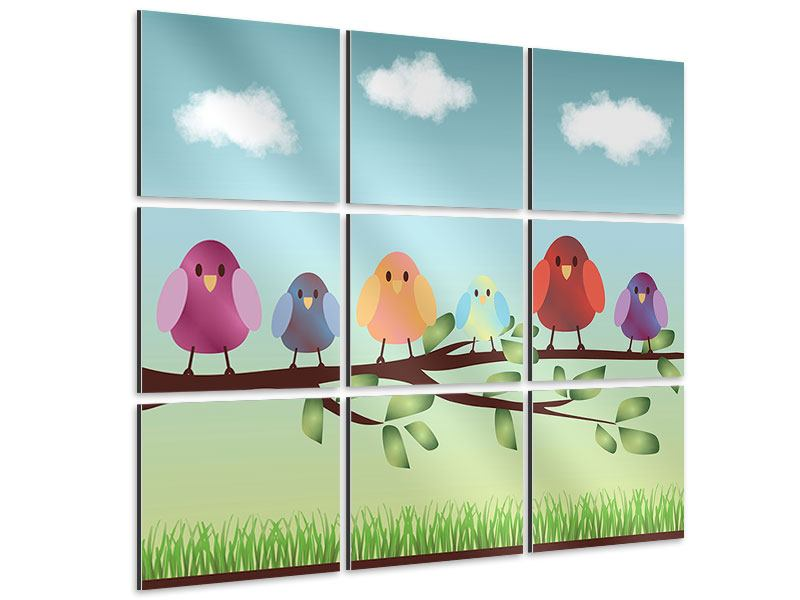 Aluminiumbild 9-teilig Alle Vögel sind schon da