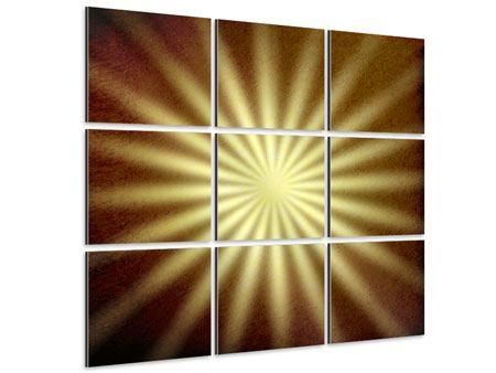 Aluminiumbild 9-teilig Abstrakte Sonnenstrahlen