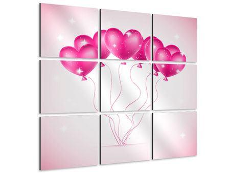 Aluminiumbild 9-teilig Herzballons