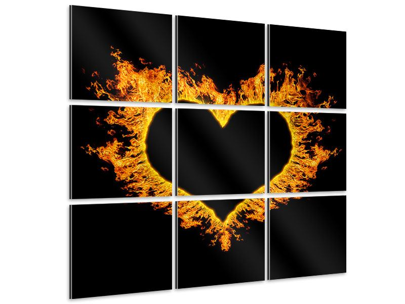 Aluminiumbild 9-teilig Herzflamme