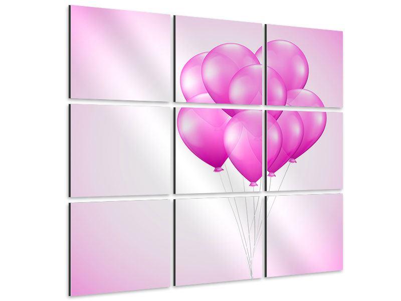 Aluminiumbild 9-teilig Rosarote Luftballons