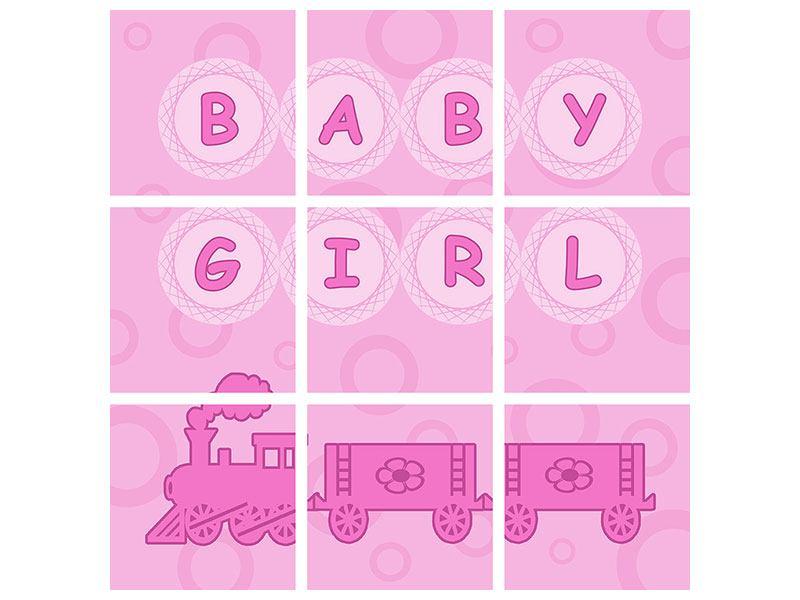 Aluminiumbild 9-teilig Baby-Girl