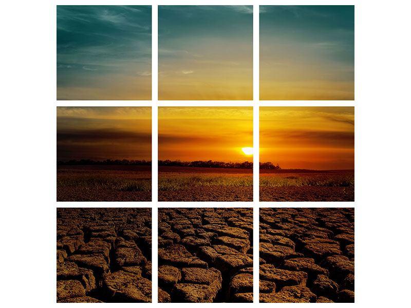Aluminiumbild 9-teilig Afrikas Dürre