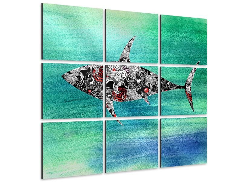 Aluminiumbild 9-teilig Haifisch-Ornament
