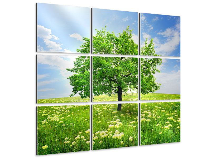 Aluminiumbild 9-teilig Der Baum