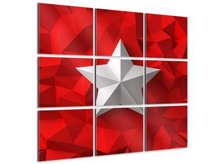 Aluminiumbild 9-teilig 3D-Stern