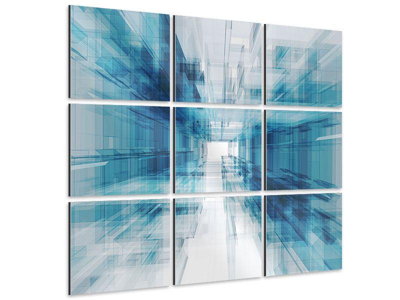 Aluminiumbild 9-teilig Abstrakte Raumerweiterung