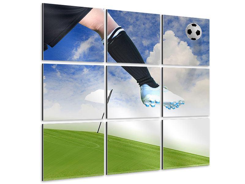 Aluminiumbild 9-teilig Fussball-Kicker