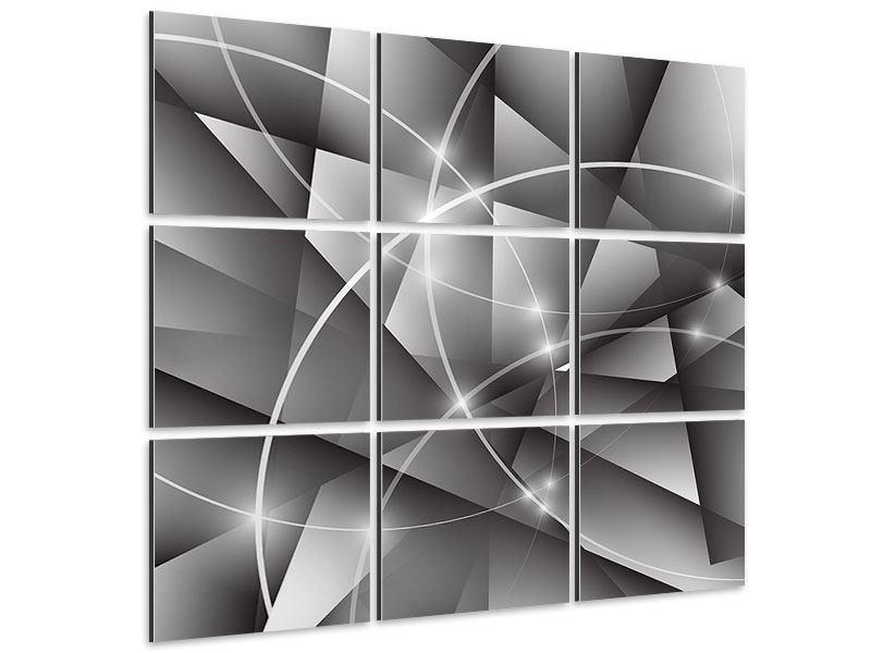 Aluminiumbild 9-teilig Geometrie