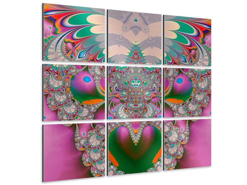 Aluminiumbild 9-teilig Fraktal Design