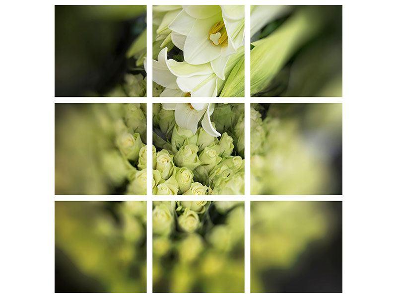 Aluminiumbild 9-teilig Die Lilien und Friends