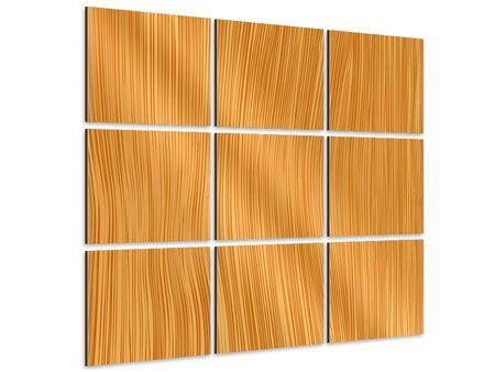 Aluminiumbild 9-teilig Wooden