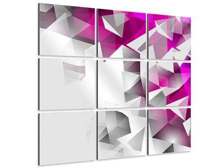 Aluminiumbild 9-teilig 3D-Kristalle Pink