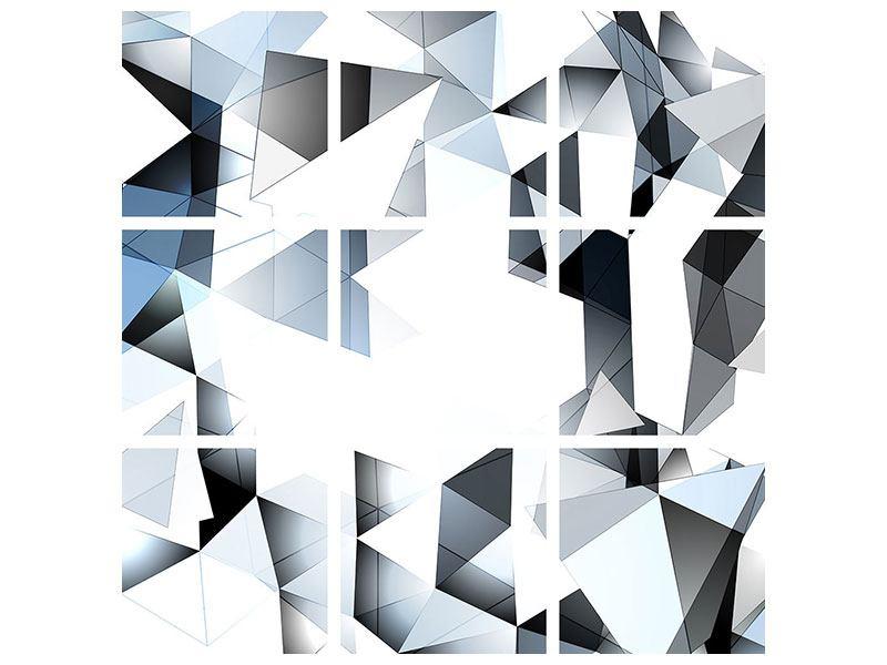 Aluminiumbild 9-teilig 3D-Kristalle