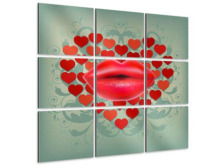 Aluminiumbild 9-teilig Rote Lippen soll man küssen
