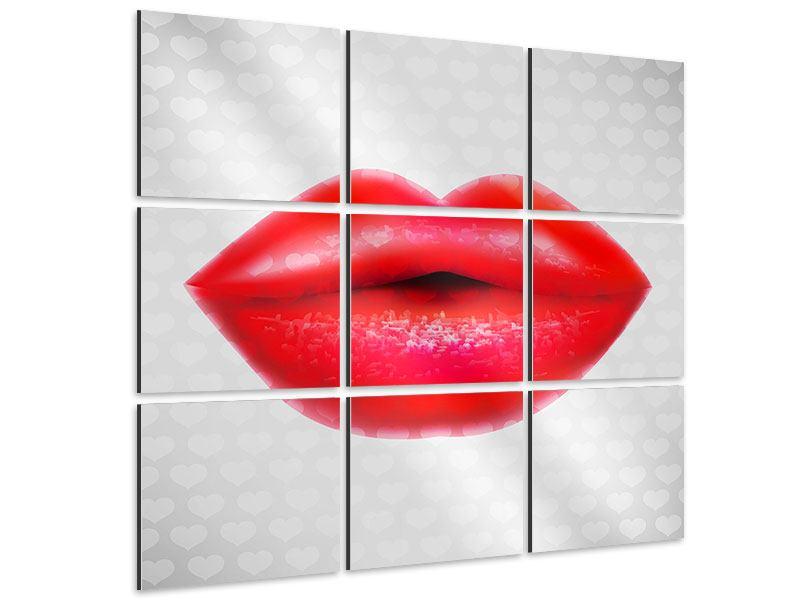 Aluminiumbild 9-teilig Kuss