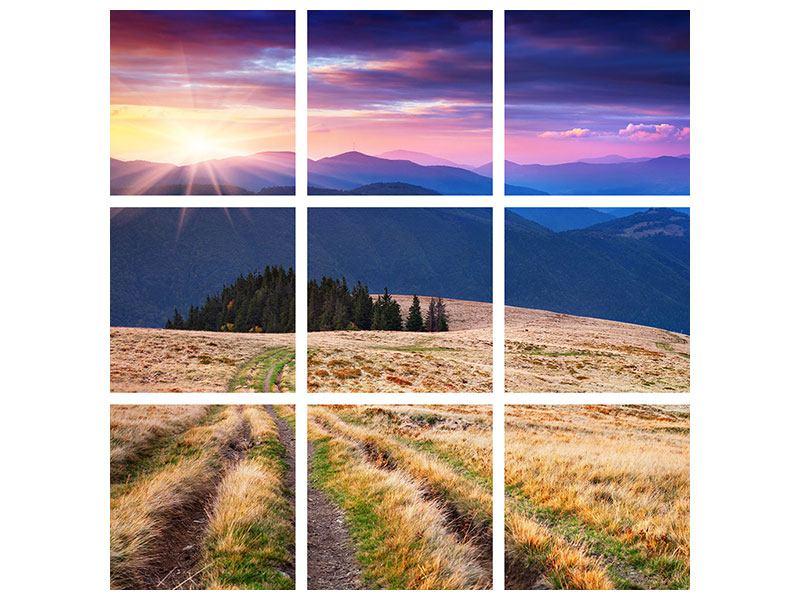 Aluminiumbild 9-teilig Sonnenuntergang in der Bergwelt