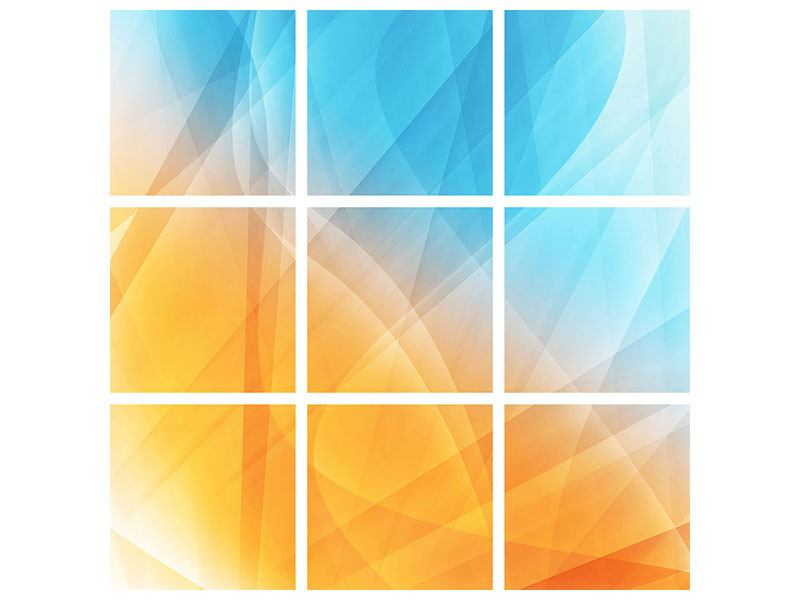 Aluminiumbild 9-teilig Abstrakte Fliessende Farben