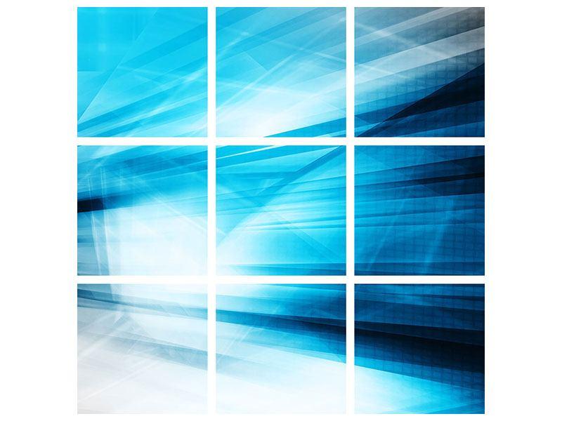 Aluminiumbild 9-teilig Abstrakte Lasershow