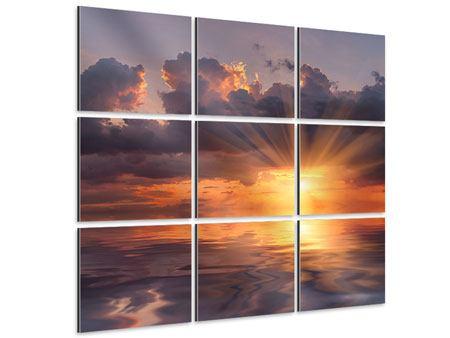 Aluminiumbild 9-teilig Packender Sonnenuntergang