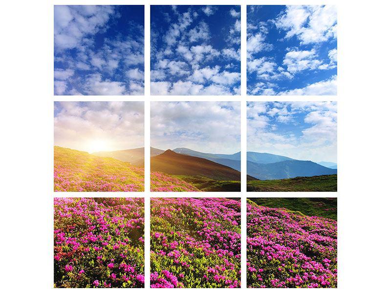 Aluminiumbild 9-teilig Blumige Berglandschaft