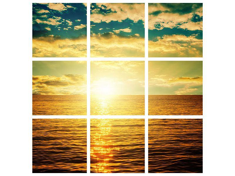 Aluminiumbild 9-teilig Sonnenuntergang am Meereshorizont