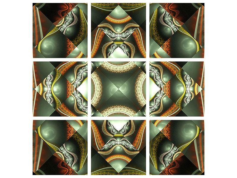 Aluminiumbild 9-teilig Fraktales Bild