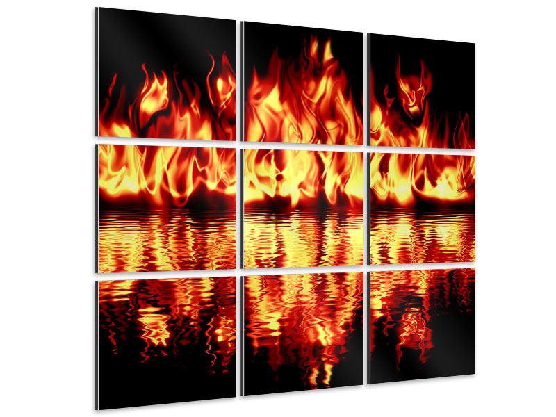 Aluminiumbild 9-teilig Feuerwasser