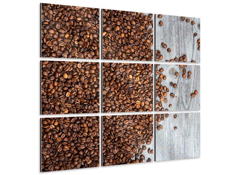Aluminiumbild 9-teilig Kaffeebohnen