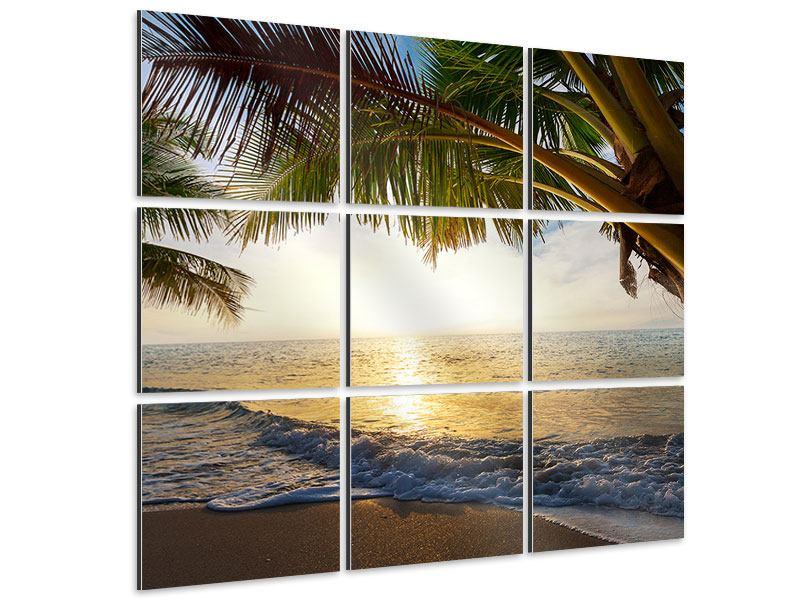 Aluminiumbild 9-teilig Strandsicht