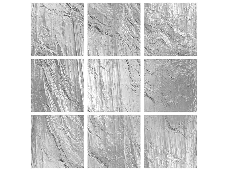 Aluminiumbild 9-teilig Icewall
